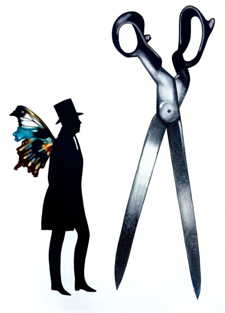 theorem painting of a main with butterfly wings standing next to a large pair of scissors
