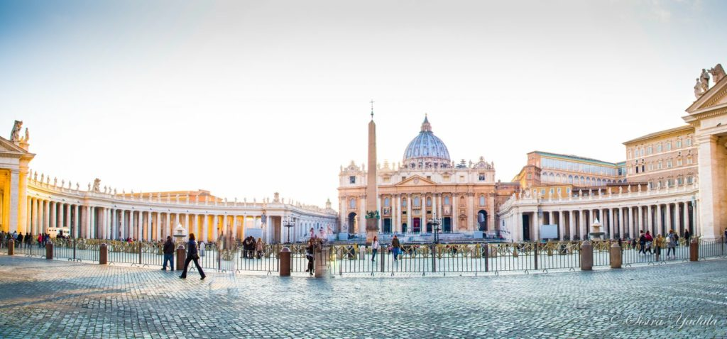 wide shot of St. Peter's Basilica